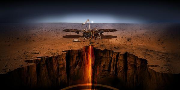 Artist rendering of NASA's InSight lander on Mars