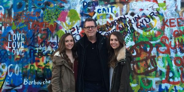 Sarah, Pat and Stephanie Meyers at the John Lennon Wall in Prague