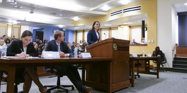 Students competing in Colorado Law's annual moot court competition