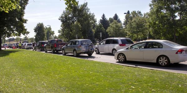 Cars are parked during Move In 2016