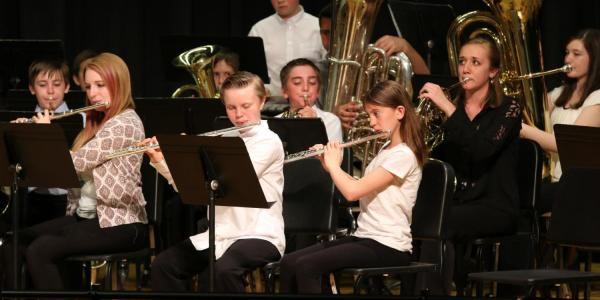 The Middle School Ensembles performing their end of semester concert in 2016.