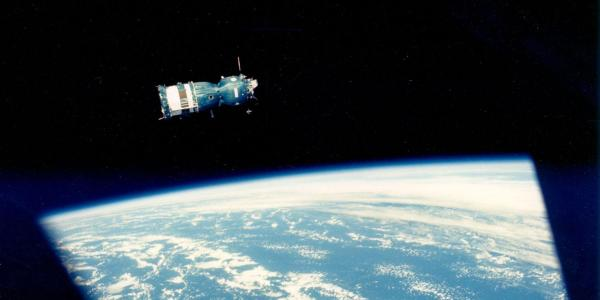 Image provided by NASA showing a Soyuz capsule in orbit, as seen from an Apollo capsule.