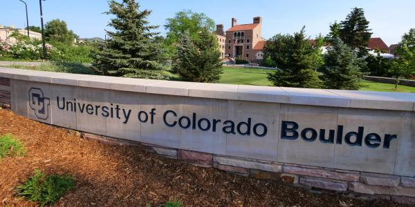 A decorative ledge on the CU Boulder campus engraved with University of Colorado Boulder (Photo by Casey A. Cass/University of Colorado)