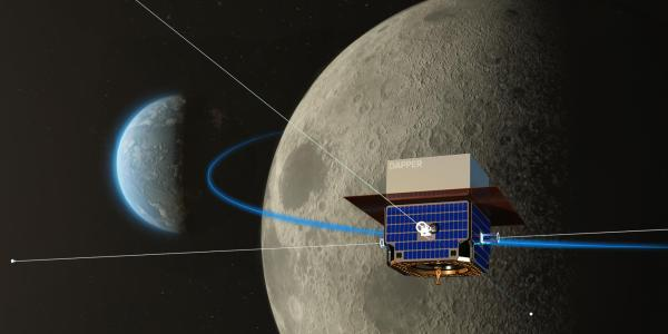 Artist's depiction of the DAPPER satellite in orbit around the moon.