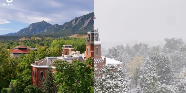 Old Main split screen features green and sunny skies (left) and snowstorm (right)