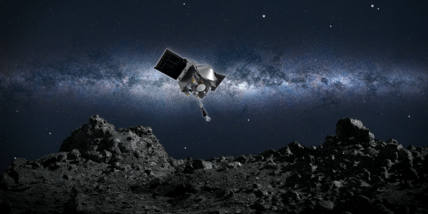 Artist's depiction of NASA's OSIRIS-REx spacecraft swooping toward Bennu to collect a sample of material from the asteroid's surface.