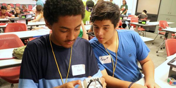 Students working on a lego robotic