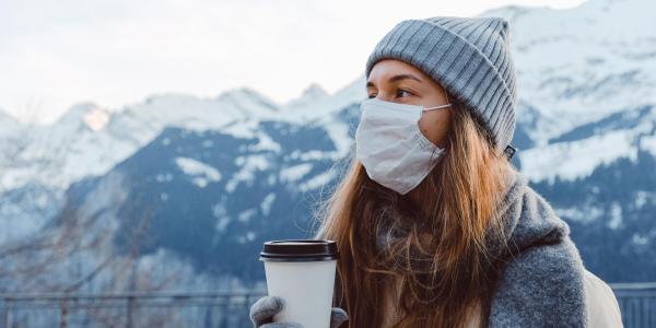 Woman outside in winter