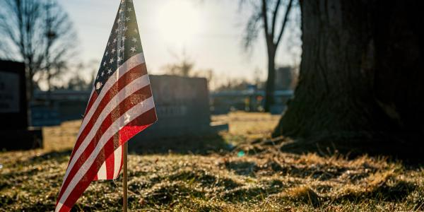 Tiny American flag in ground at cemetery