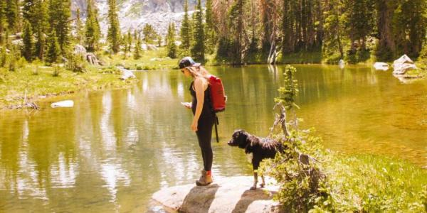 person and dog by a river with mountains in the background