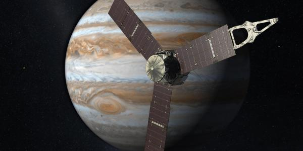 Illustration of the Juno satellite in orbit around Jupiter