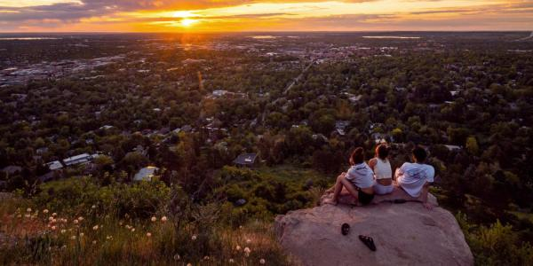students watching sunset from Flagstaff