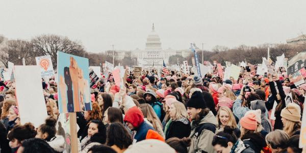 Protesters at the 2017 Women's March