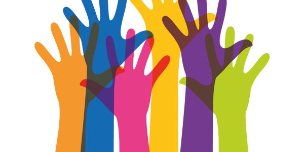 An illustration of colorful hands raised as if to speak