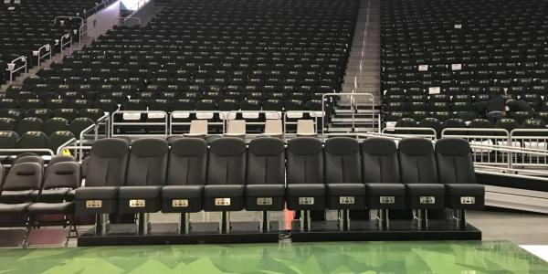 New basketball seats in an empty arena