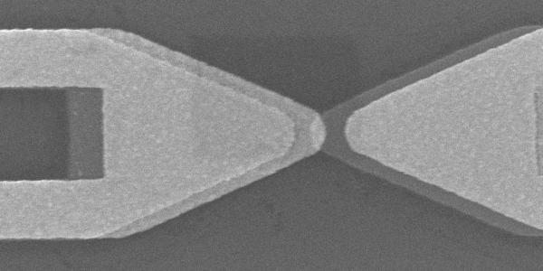This scanning electron microscope image shows the distinct bow tie shape of an optical rectenna.