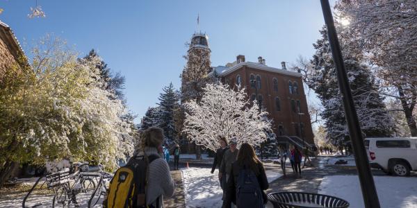 Students walk on snowy campus