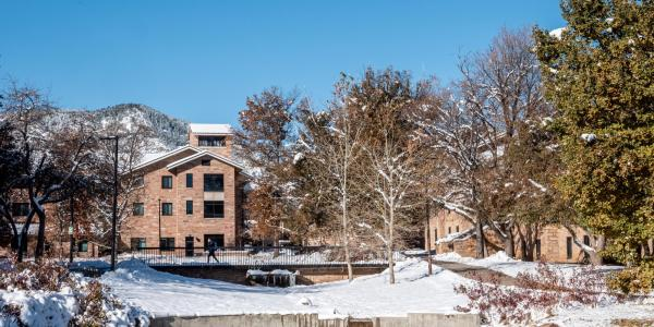 CU Boulder campus with snow.