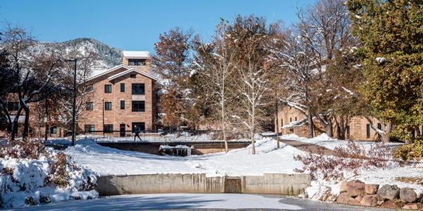 CU Boulder campus with snow.