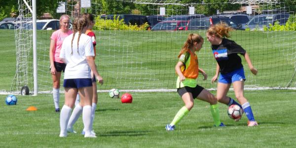 Summer soccer camp at CU Boulder. (Photo by Casey A. Cass/University of Colorado)