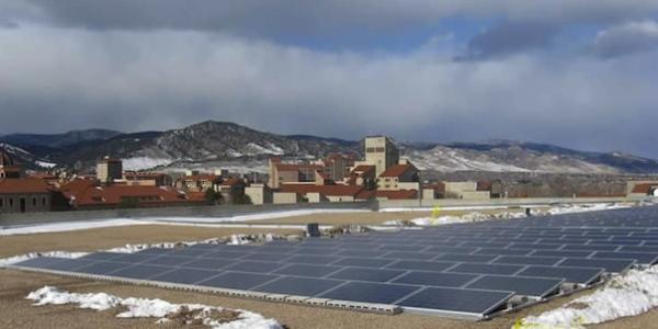 Solar energy panels on CU campus