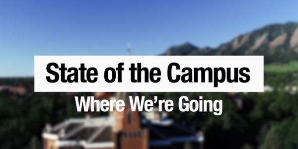 State of the Campus text with blurred image of campus as background