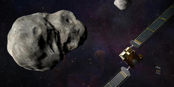 A satellite and asteroid