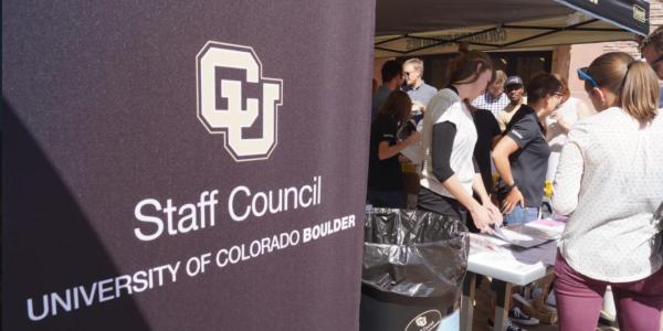 A CU Boulder Staff Council banner