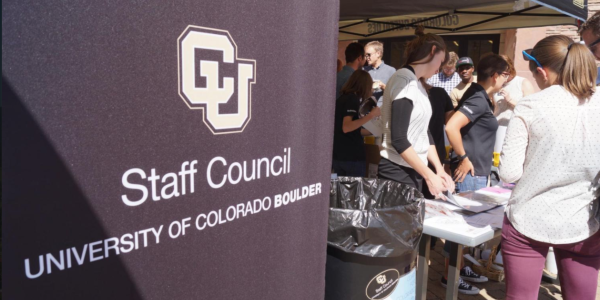 A CU Boulder Staff Council banner