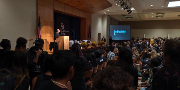 The chancellor speaks in front of a packed house at the 2019 State of the Campus address