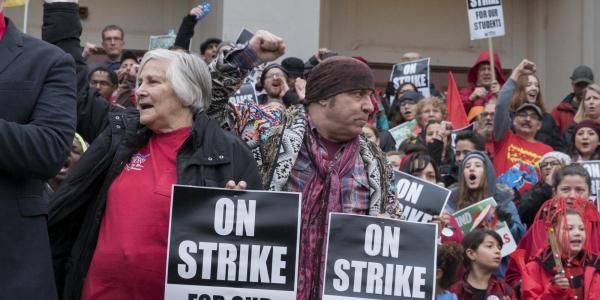 Picket line during Los Angeles teachers strike