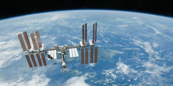 The International Space Station in orbit around Earth