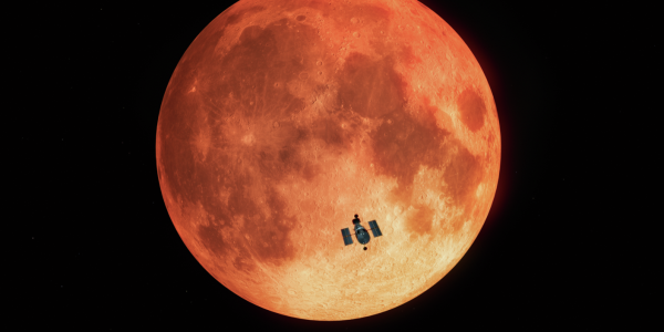 Artist's depiction of the Hubble Space Telescope passing in front of the moon during a total lunar eclipse.