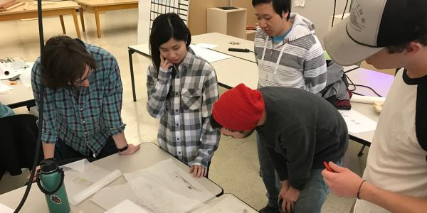 CU Boulder ENVD students review plans for a new playground in Denver