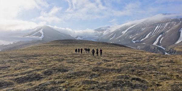 People hiking in Svalbard