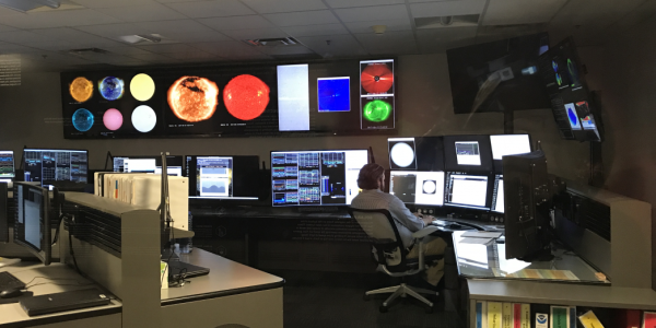 NOAA'S Space Weather Prediction Center in Boulder, Colo. (Photo by Katie Palubicki/CIRES and NCEI)