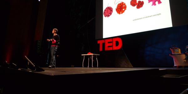 A person gives a TED talk