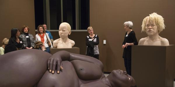 Visiting artist Tip Toland at a recent exhibit of her sculptures