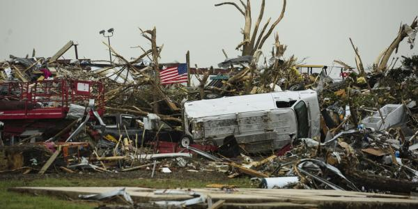 Aftermath of 2014 tornado in Vilonia, Arkansas