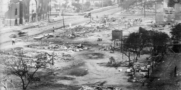 The Greenwood district of Tulsa in ruins after the Tulsa Race Massacre