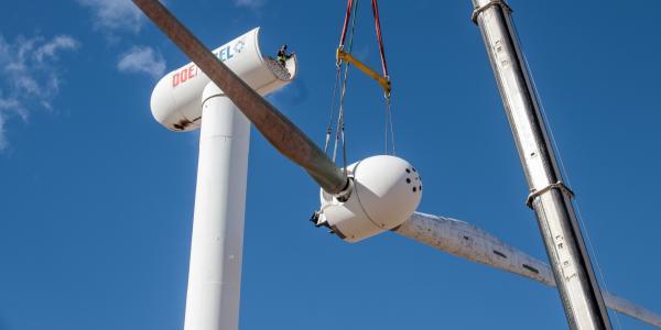 Wind turbine blades being installed