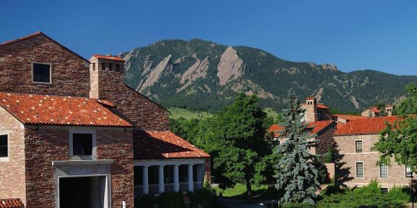 The UMC with the Flatirons in the background