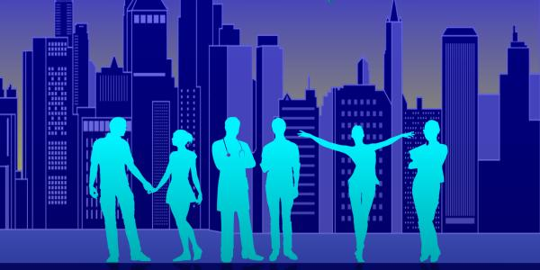 Silhouette of six people in front of the NYC skyline