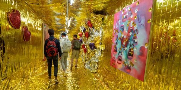 An art exhibit on the CU Boulder campus
