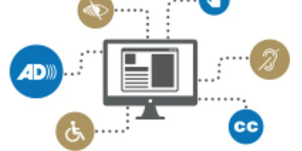 An illustration of a computer monitor is surrounded by symbols of accessibility