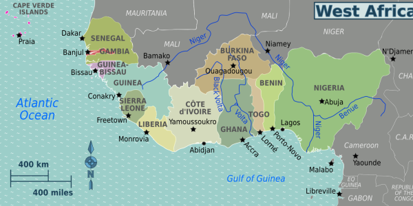 Map image of West Africa