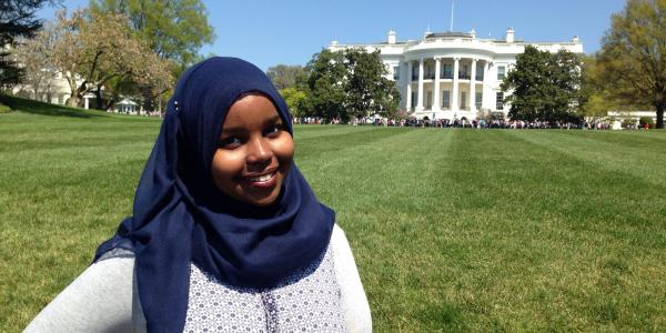 CU Boulder senior Safia Malin poses in front of The White House