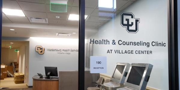 A counseling center located at Williams Village is seen, looking through the front window.