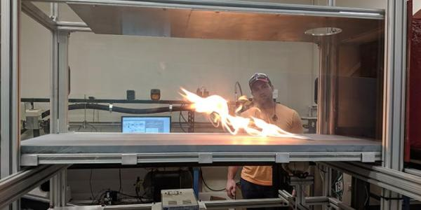 Researchers at CU Boulder using a wind tunnel to study wildfires