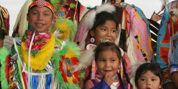 Young Arapaho dancers in costume